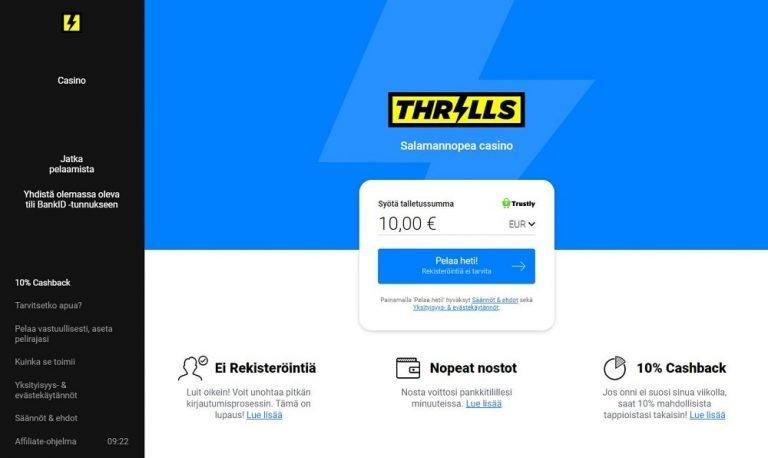Thrills Casino tarjoaa pelejä ilman rekisteröitymistä.