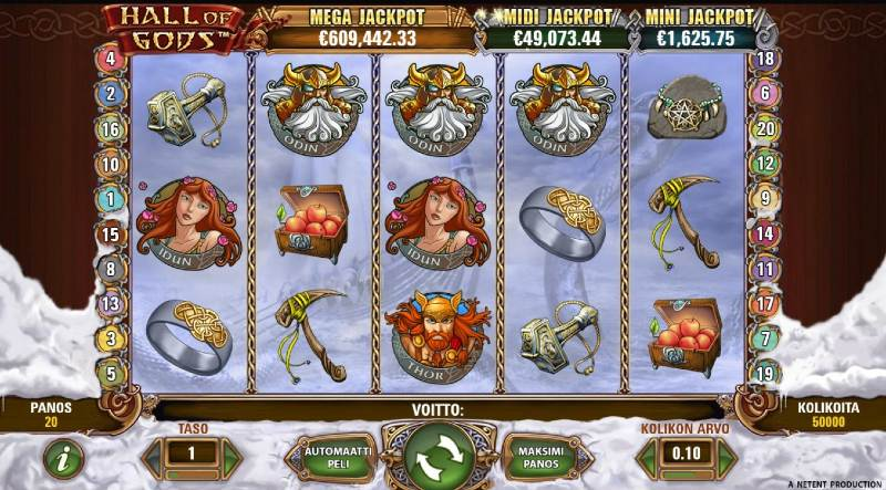 hall of gods peruspeli peliautomaatti jackpot-peli