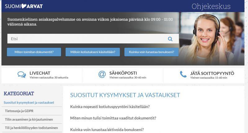 suomiarvat.com casino asiakaspalvelu