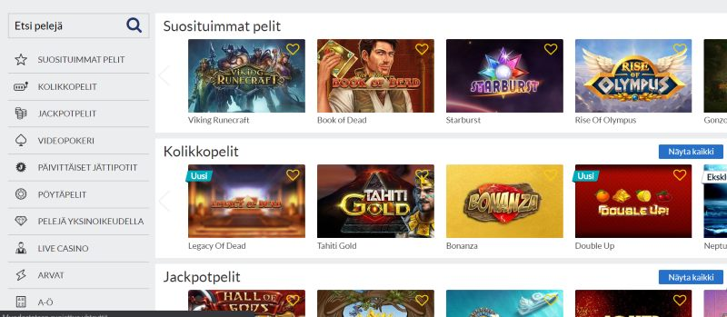 suomiarvat.com casino pelivalikoima