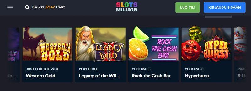 slotsmillion casino pelivalikoima