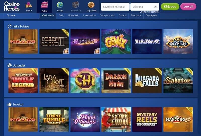 Casino Heroes pelivalikoima