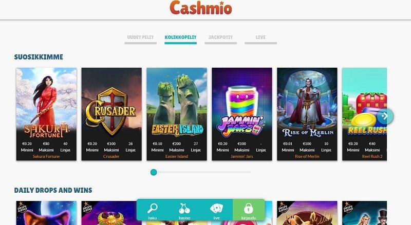 cashmio casino pelivalikoima kolikkopelit
