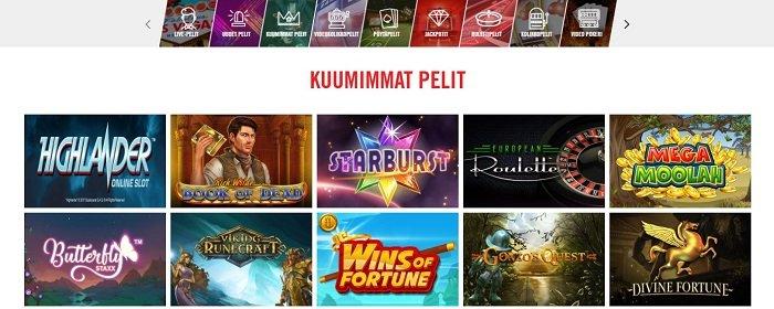 Vegas Hero -nettikasino pelivalikoima