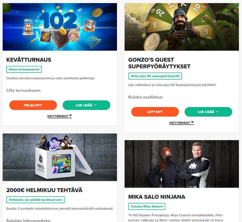 ninja casino kampanjat