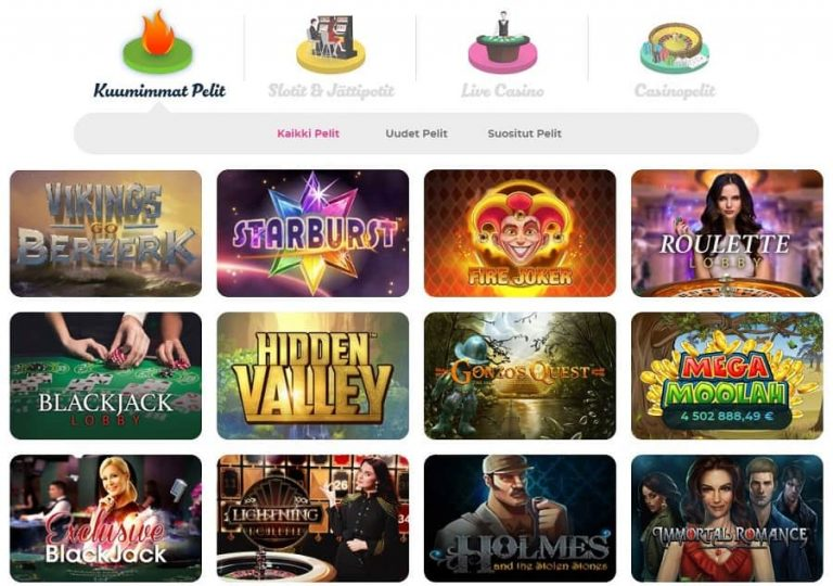 Casino Joyn pelivalikoima on kattava.