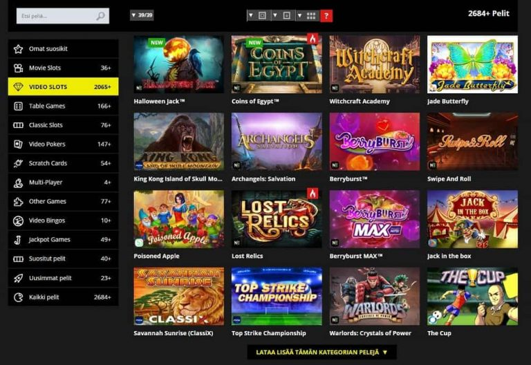 Jetbull Casinon pelivalikoima