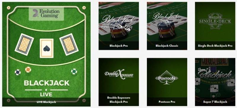 Osa Dunder-kasinon blackjack-valikoimasta