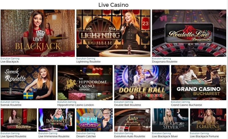 Pronto Casinolta löytyy useita livekasinopelejä.