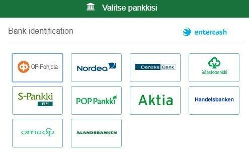 Entercash suomalaiset pankit