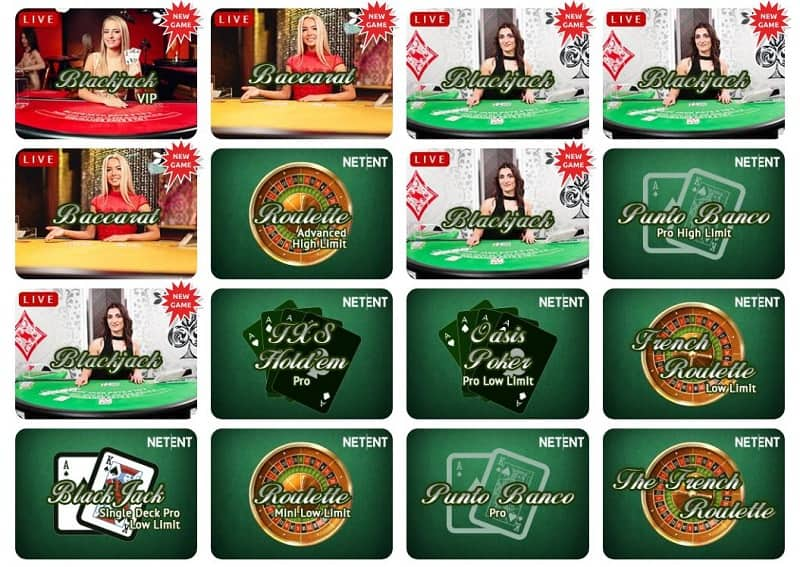 Slotsons Casino pöytäpelit