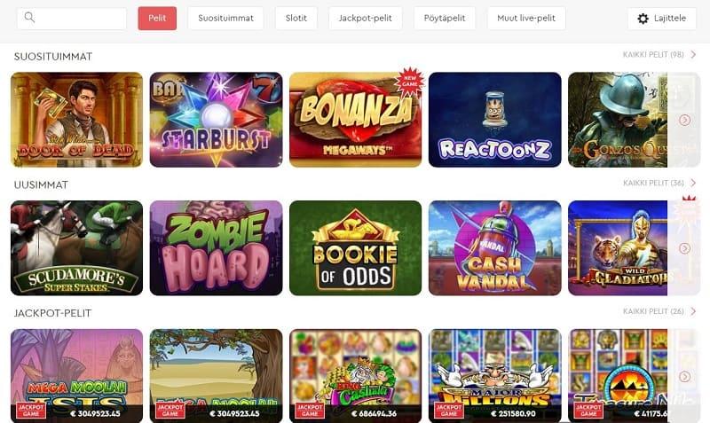 Slotsons Casinon pelivalikoima
