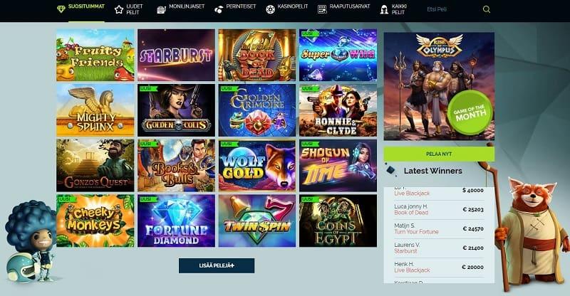 Wixstars Casinon pelivalikoima
