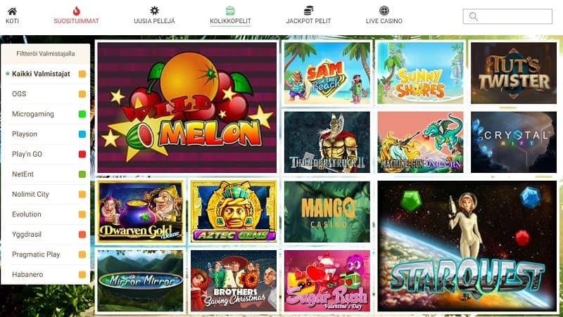 Mango Casino pelivalikoima