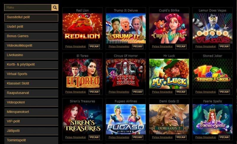 Parklane Casinon suositellut pelit