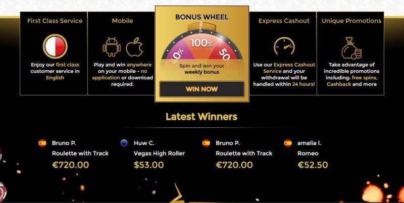 Unique Casino ulkoasu ja viimeaikaiset voittajat