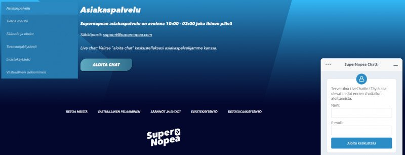 supernopea casino asiakaspalvelu suomeksi live chat
