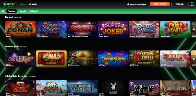 inandoutbet casino pelivalikoima
