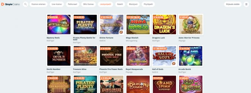 simple casino pelivalikoima jackpot-pelit