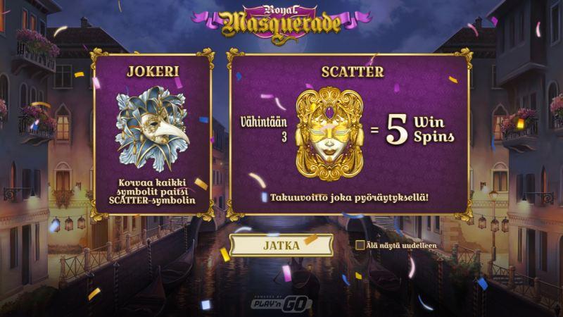 royal masquerade kolikkopeli erikoissymbolit