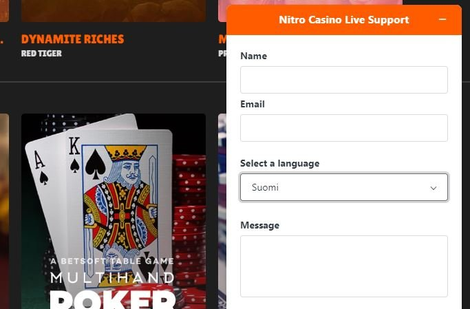 Nitro Casino asiakaspalvelu
