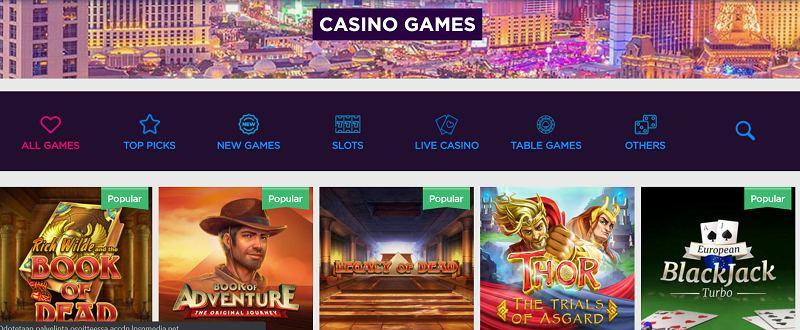 lucky vegas casino pelivalikoima