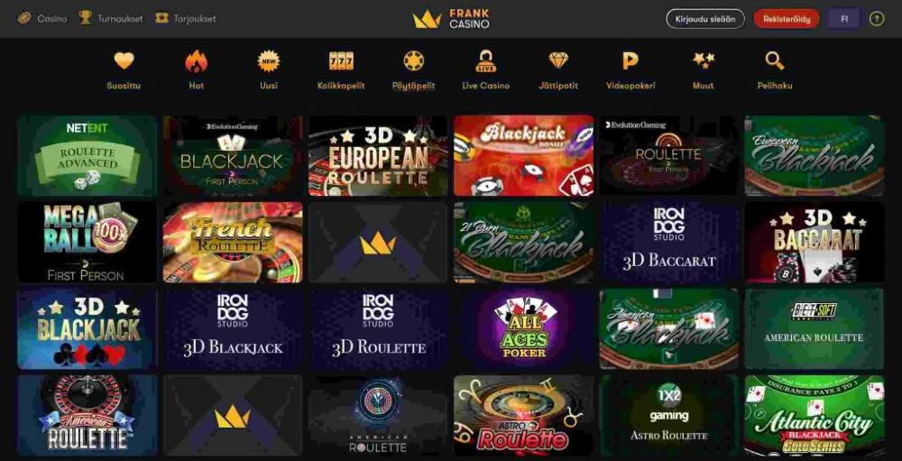 frank casino pelivalikoima