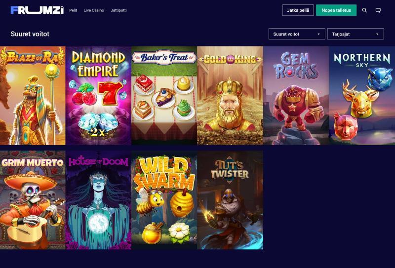 frumzi casino pelivalikoima suurien voittojen pelit
