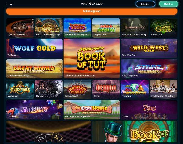 rush casino pelivalikoima