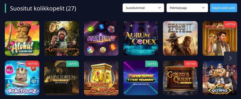 rush casino suosituimmat pelit