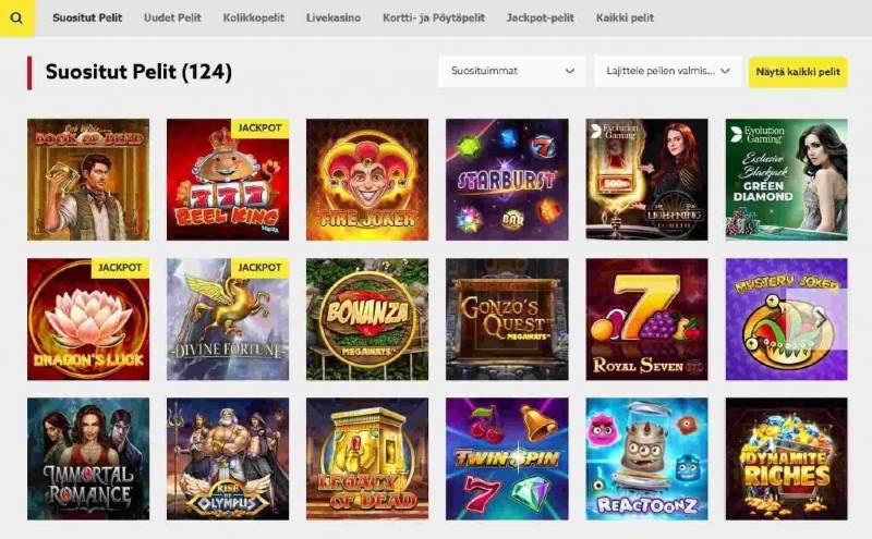 funbet casino suositut pelit pelivalikoima