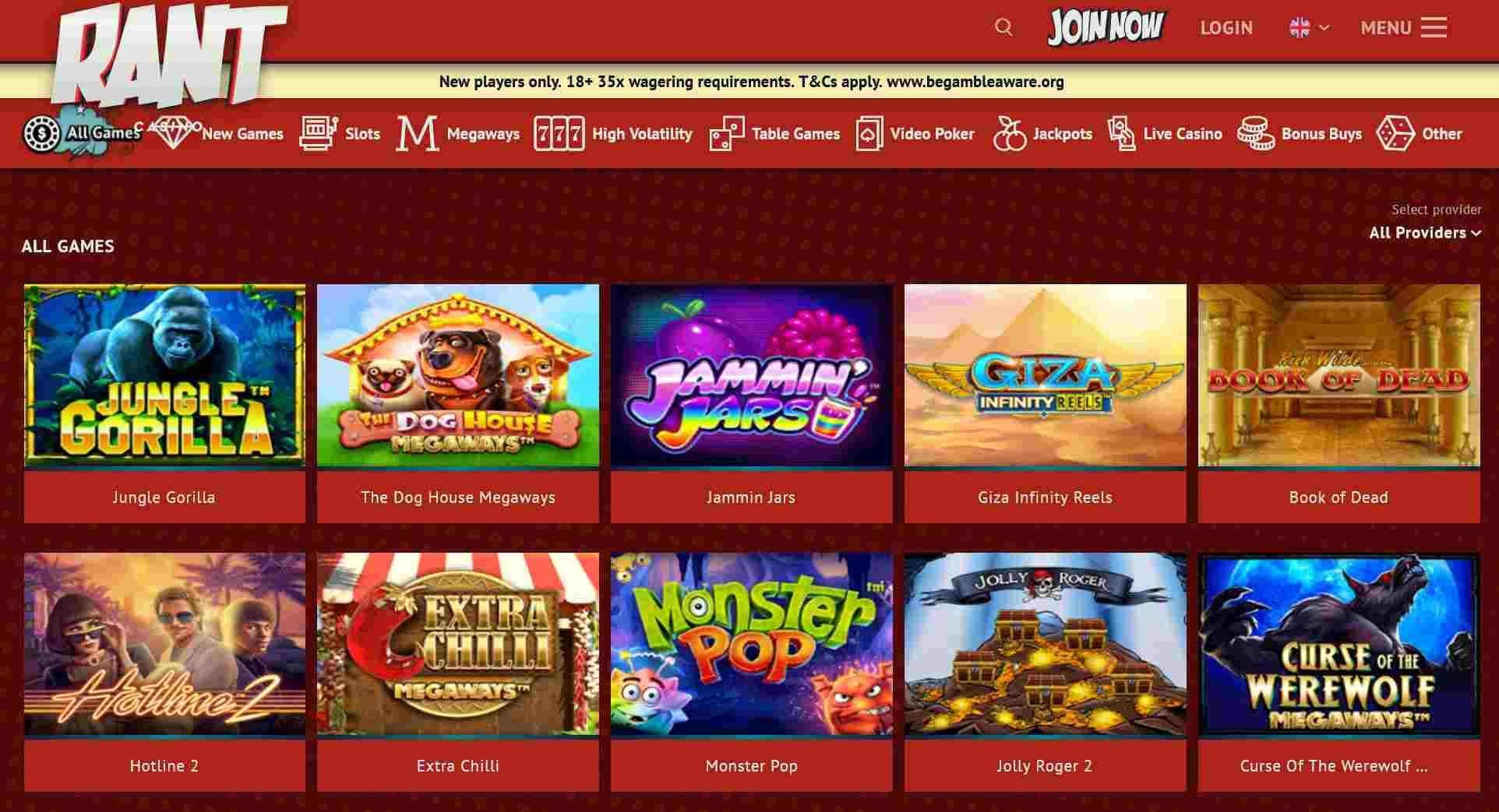 rant casino pelivalikoima kolikkopelit