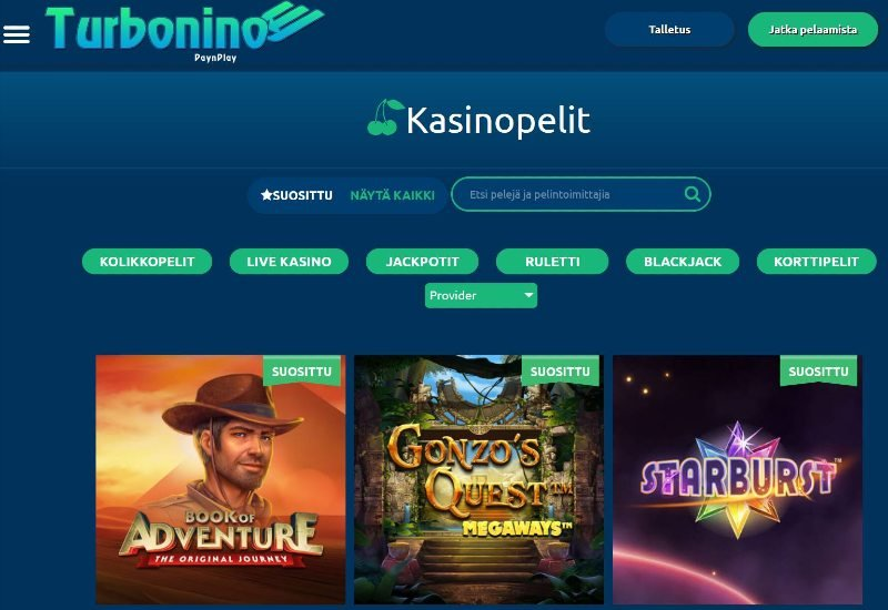 turbonino casino pelivalikoima suosituimmat pelit