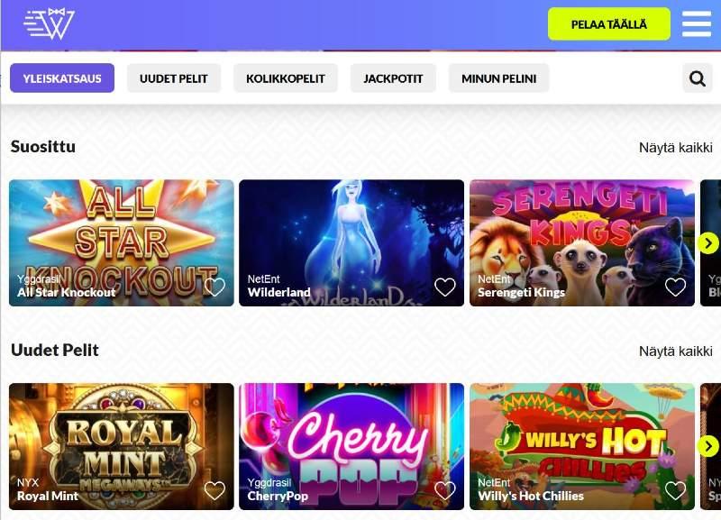 instantwest casino pelivalikoima