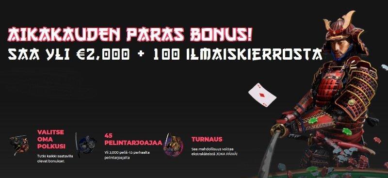 spin samurai casino bonus ja ilmaiskierrokset