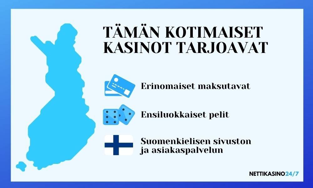 mitä suomalaiset nettikasinot tarjoavat infograafi