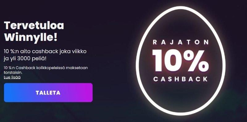 winny casino bonus 10% rajaton cashback