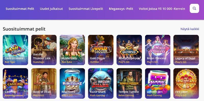 casino days pelivalikoima suosituimmat