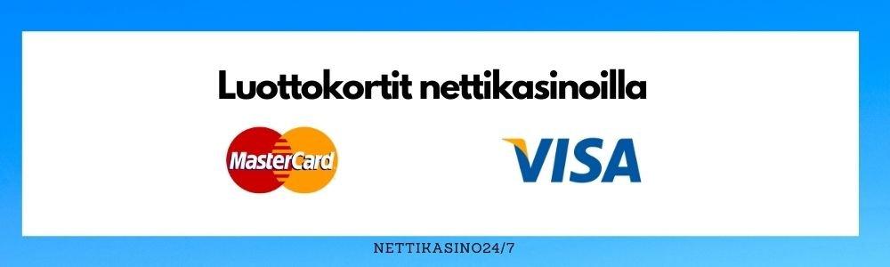 nettikasinoiden maksutavat, luottokortit nettikasinoilla