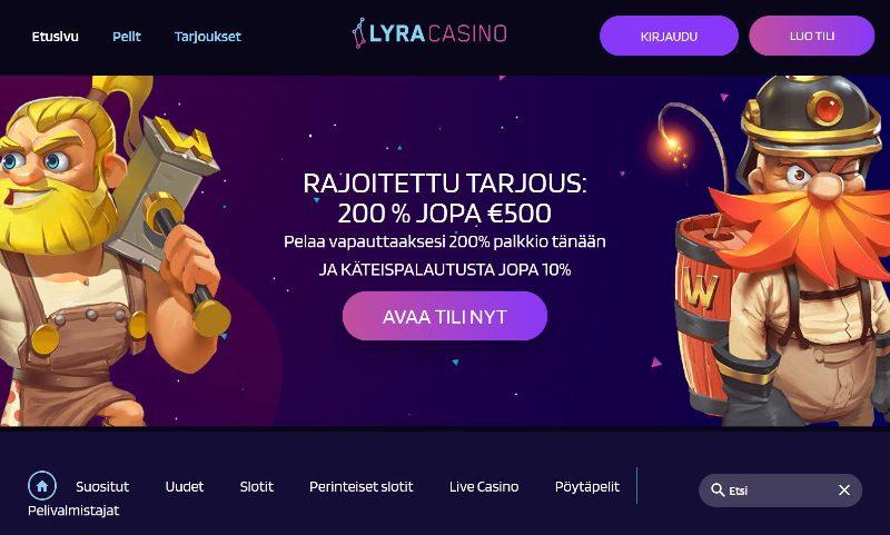 lyracasino suomi etusivu